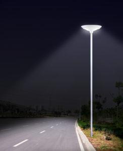 CSL-14 LED Solar Courtyard Light Installed Night