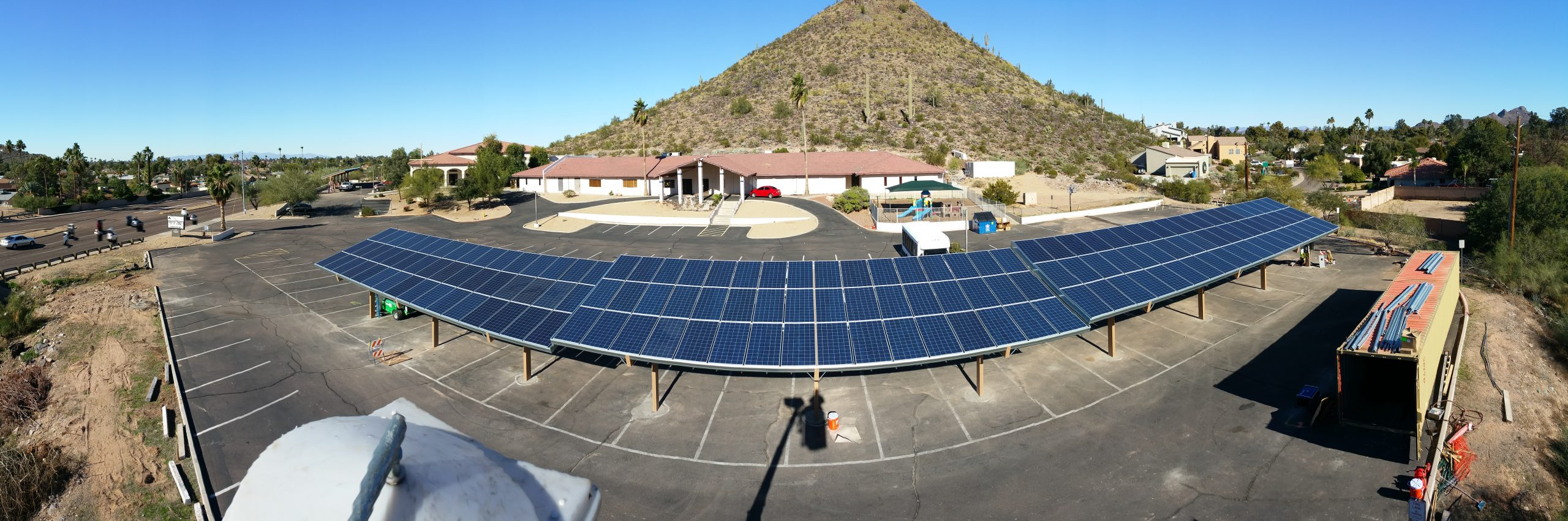 Solar panels on covered parking